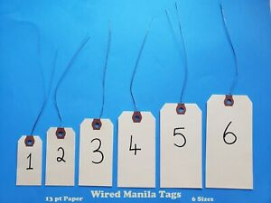 Wire Strung Manila Tags Inventory Hang Label Shipping Sizes 1 2 3 4 5 6 Wired