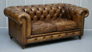 Vintage Halo Asquith Heritage Brown Leather Chesterfield Sofa Part Of Suite