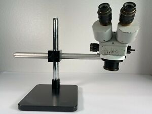 Amscope Binocular Stereo Microscope With Table Pillar Stand Boom Stick