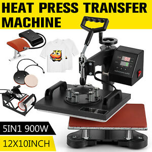 5 In 1 Heat Press Machine Digital Transfer Sublimation For T shirt Mug Hat