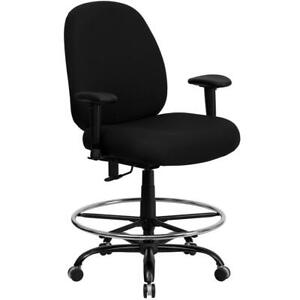 Big Tall 400 Lb Rated High Back Black Fabric Ergonomic Drafting Chair