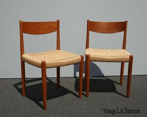 Pair Vintage Danish Modern Style Teak Wood Manila Rope Seat Chairs