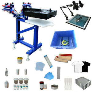 3 Color 1 Station Floor Type Silk Screen Printing Press Kit Equipped With Dryer