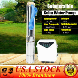 3 Dc Solar Water Pump 48v 400w Submersible Well Garden Irrigation Kit Head 47m