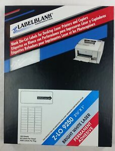 3000 Labelblank White Laser Address Labels 1 x2 5 8 100 Sheets Template 5160