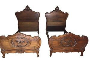 Matching Pair Of French Louis Xvi Twin Beds 19th Century Walnut