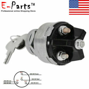 Universal Ignition Switch 2 Keys 12volt 4 Position On Off Start Acc