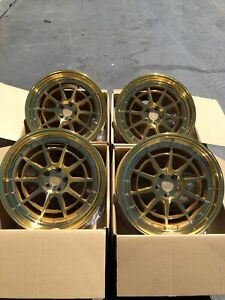 18x9 5 Aodhan Rims Ah04 5x100 35 Machined Gold Wheels Rims Used Set