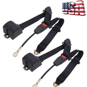 2pack Black Universal 3 Point Retractable Adjustable Car Seat Belt Us Hot Seller
