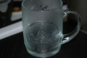 Textured Embossed Glass Coca-Cola Mug Cup 10 Ounces