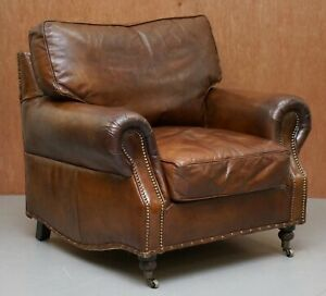 Oversized Timothy Oulton Balmoral Halo Brown Leather Armchair Part Large Suite