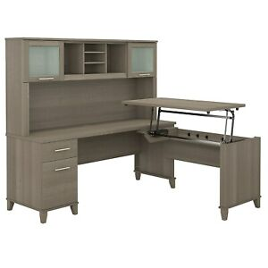 Bush Furniture 72w 3 Position Sit To Stand L Shaped Desk With Hutch Ash Gray