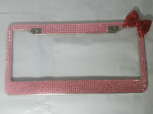 New Pink Rhinestone Red Bow Bling Glitter License Plate Frame Cover Crystal