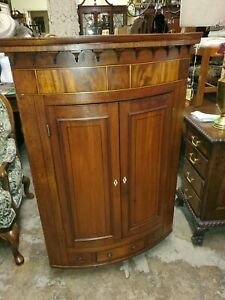 Antique Large Mahogany Hanging Corner Cabinet W Inlay And Drawer