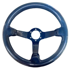 Hiwowsport Carbon Fiber Racing Car Steering Wheel Real 6 Holes 350mm Bolts Blue