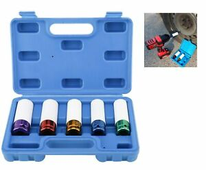 Lug Nut Socket Set Thin Wall Rim Socket Wheel Protector Deep Hollow 1 2 5pcs