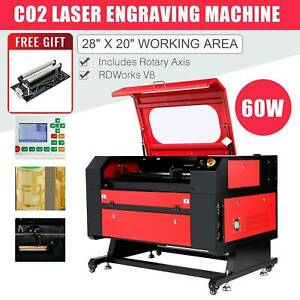 Co2 28 X 20 60w Laser Engraver Cutter W Cylinder Rotary Attachment