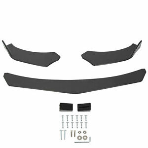 3 Pcs Front Bumper Lip Splitter Spoiler Universal Adjustable Angle Gloss Black