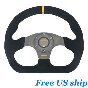 Universal 13 325mm Racing Leather Flat Steering Wheel With Horn Button Black