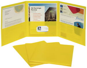 C line 3 pocket Poly Portfolios Letter Yellow Pack Of 24