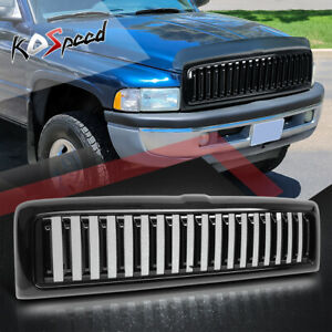 Black Vertical Fence Abs Plastic Front Bumper Grille Cover For 94 02 Dodge Ram