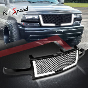 led Drl diamond Mesh Front Bumper Grille Frame For 00 06 Chevy Suburban tahoe