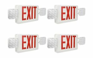 Red Exit Sign 120 277v Double Face Led Combo Emergency Light 4 Pack