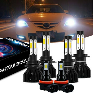 6x For Mazda 3 2004 2005 2006 Led Headlight 9005 H7 Bulbs H11 Fog Light White