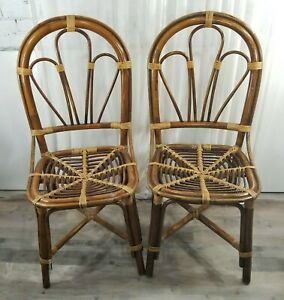 Vintage Bamboo Rattan Tan Dining Chairs Set Of 2 Boho