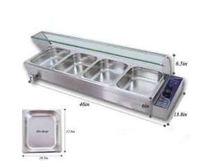 110v 4 pan Commercial Stainless Steel Bain marie Buffet Food Warmer Steam Table