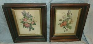 Antique Pair Of Eastlake Style Victorian Picture Frames W Rose Prints 8 X 10