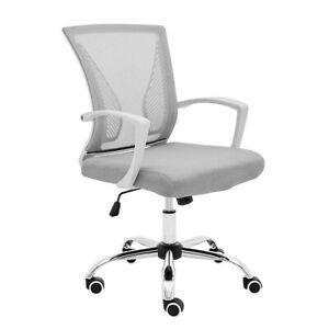 Tekkashop Wfhhoc125 Mid Back Mesh Task Home Office Chair W White Frame Fixed Arm