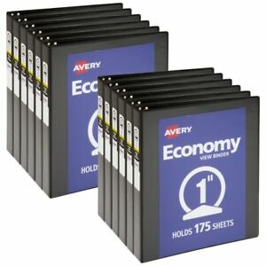 Avery Economy View 3 ring Binder 1 1 2 Round Rings White Pack Of 12