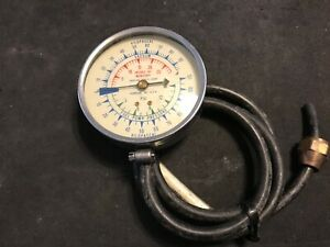 Vintage Snap On Tools 3 3 4 Diameter Vacuum Fuel Pump Pressure Gauge W Hose