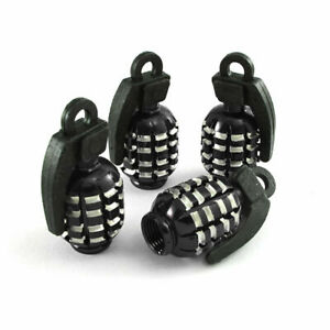 4x Black Grenade Car Tire Valve Stem Caps Covers For Truck Van Motorcycle Bike