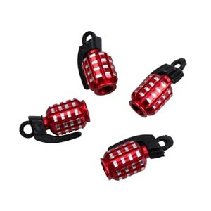 4x Red Grenade Car Tire Valve Stem Caps Covers For Truck van motorcycle bicycle