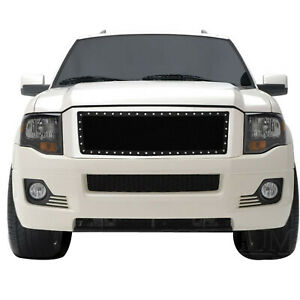 Fit 07 14 Ford Expedition Black Steel Wire Mesh Rivet Grille Insert