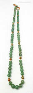 Antique Chinese Carved Green Jadeite Jade Bead Necklace Gold Beads