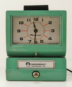 Vintage Acroprint Time Recorder Auto Punch Clock 125nr4 Key 100 For Charity