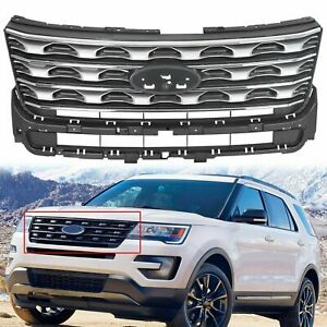 Silver Front Upper Grille Grill Factory Style For Ford Explorer 2016 2017