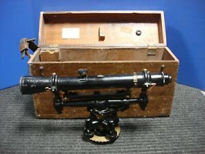 W L e Gurley 652014 Vintage Land Survey Transit Level With Wooden Case