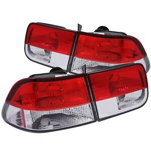Anzo Fits 1996 2000 Honda Civic Taillights Red clear