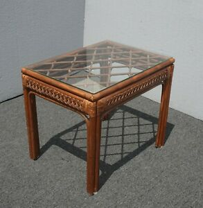 Vintage French Country Rustic Bamboo Rattan Brown End Table