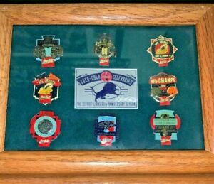 Detroit Lions 60th Anniversary Coca-Cola Pin Set Limited Edition Framed