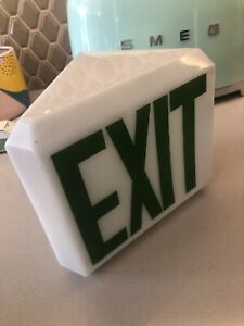 Exit Sign Light Vintage Antique Art Deco Globe White Glass Display Store Mount