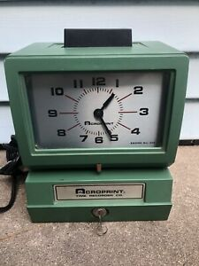 Acroprint Model 150ar3 Heavy Duty Automatic Time Recorder With Key Tested Works