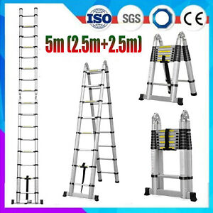 16 5ft Step Ladder Extensiontelescoping Lightweight Portable Folding Telescopic