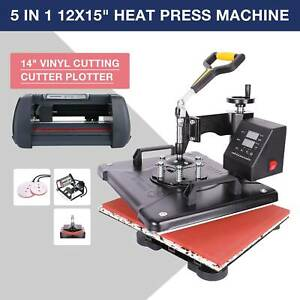 14 Cutting Vinyl Cutter Plotter W 3 Blades 12 x15 5 In 1 Heat Press Machine