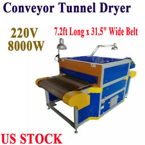 T shirt 220v Conveyor Tunnel Dryer 7 2ft Long X 31 5 Wide Belt For Screen Print