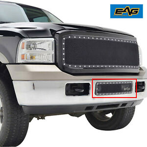 Eag Fit 05 07 Ford Super Duty Excursion Black Steel Mesh Evolution Bumper Grille